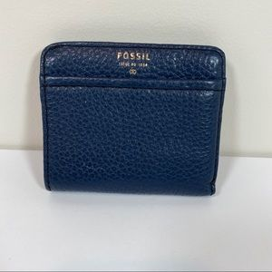 Fossil blue leather small wallet